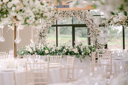 Evergreen top table arrangement