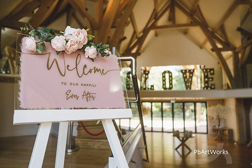 Welcome sign with easel
