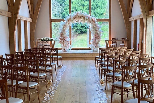 blush and ivory wedding arch