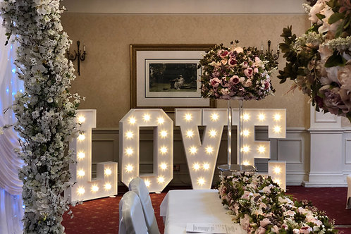 White 4ft light up LOVE letters