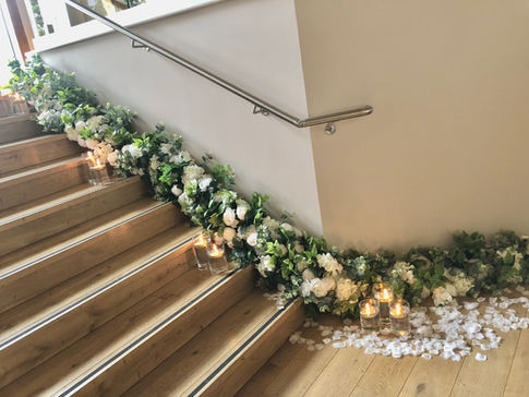 stair garlands, venue decorations,