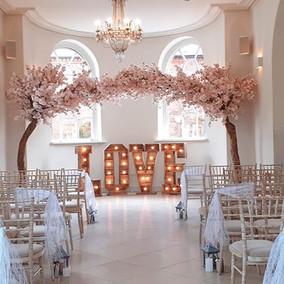 pink wedding arch