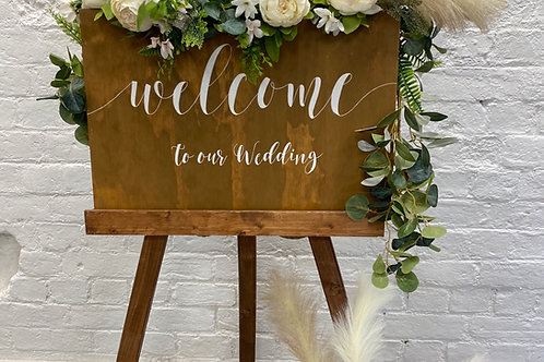 Pampas grass welcome sign