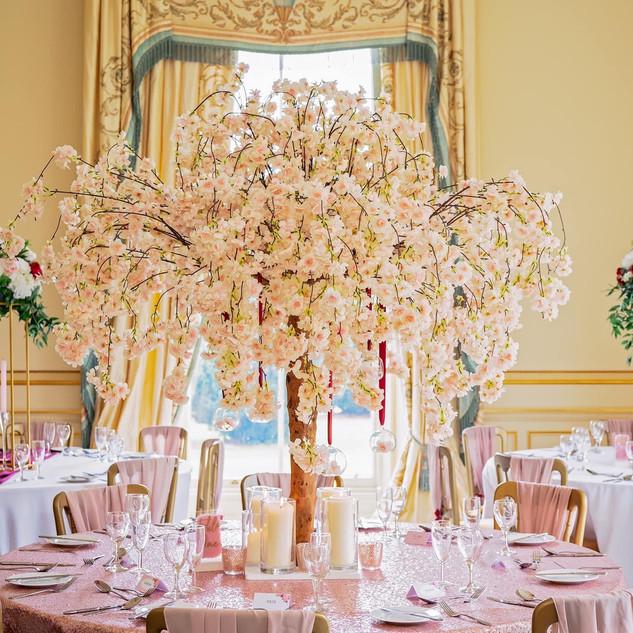pink blossom tree, blossom tree hire, blossom tree centrepiece, blossom tree wedding