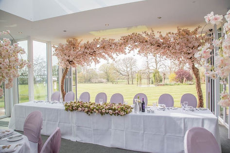 pink canopy trees, wedding arch, arch hire, top table decor, top table trees, top table backdrop, tern hill wedding venue,
