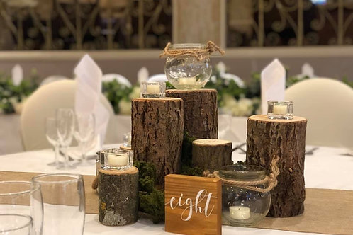 Rustic logs and vases