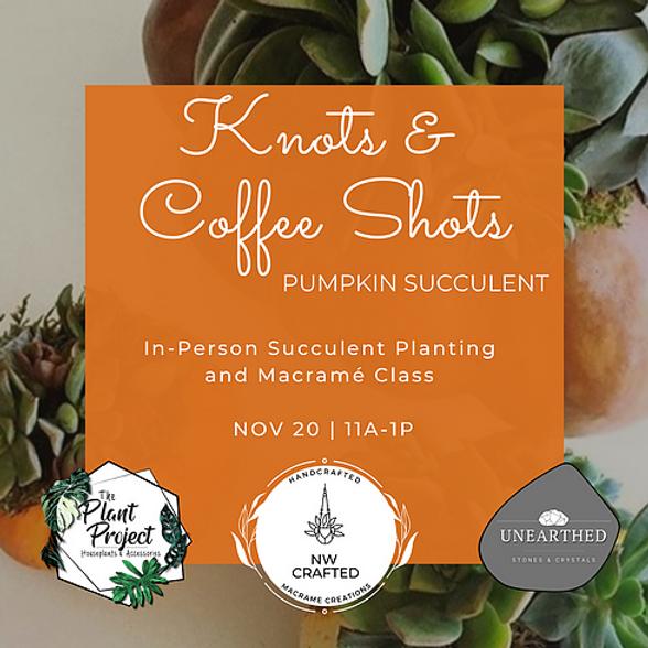 Knots & Coffee Shots - Pumpkin Succulent Planter & Macrame