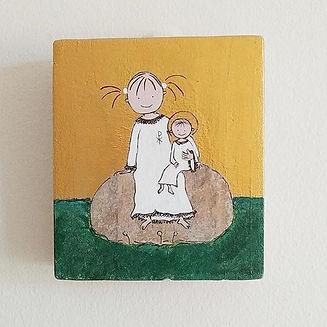 Handgjord ikon med Sötnosen och Jesusbar