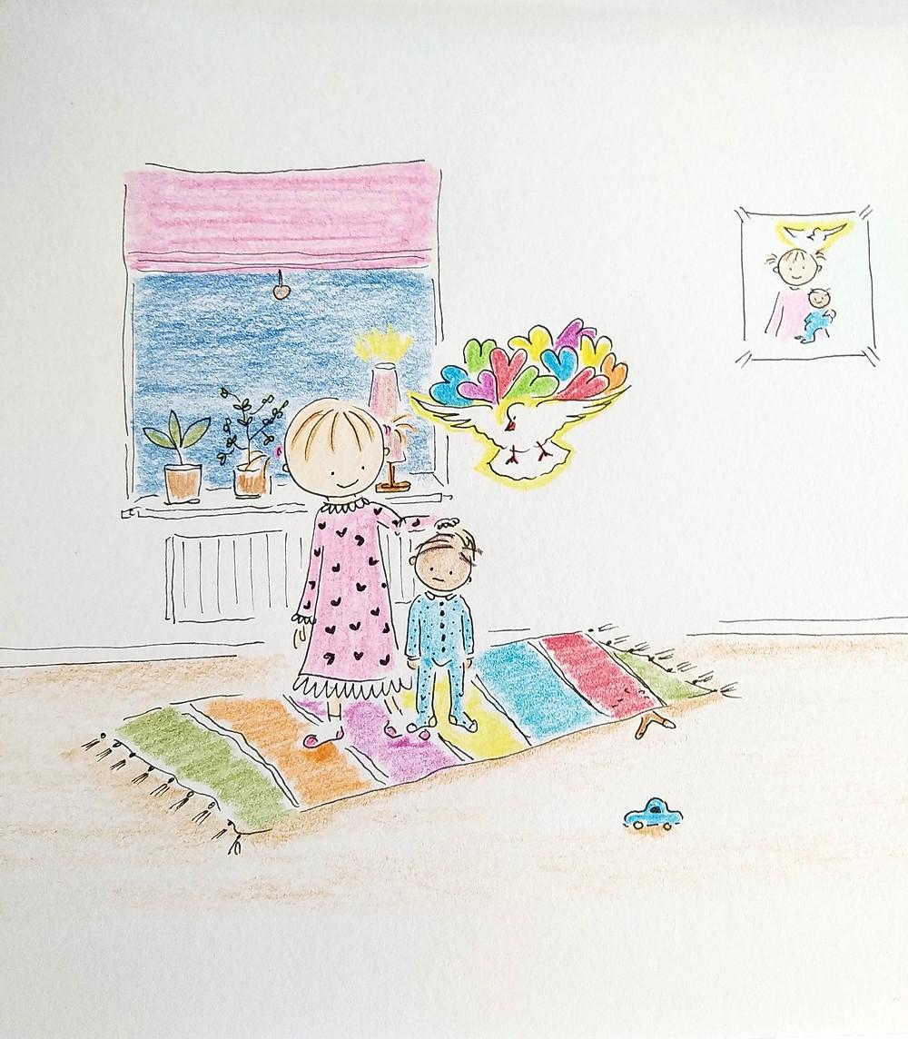 Teckning av Marie Ek Lipanovska, Sötnosen tröstar lille Jesus