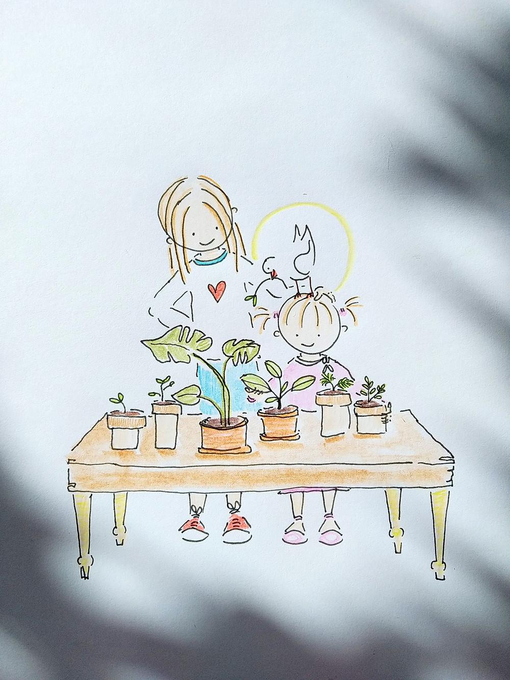 Sötnosen, Anden och Emme planterar. Illustration av Marie Ek Lipanovska