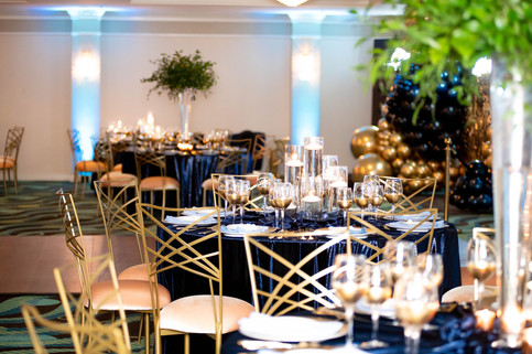 Navy Blue and Gold Table Setting