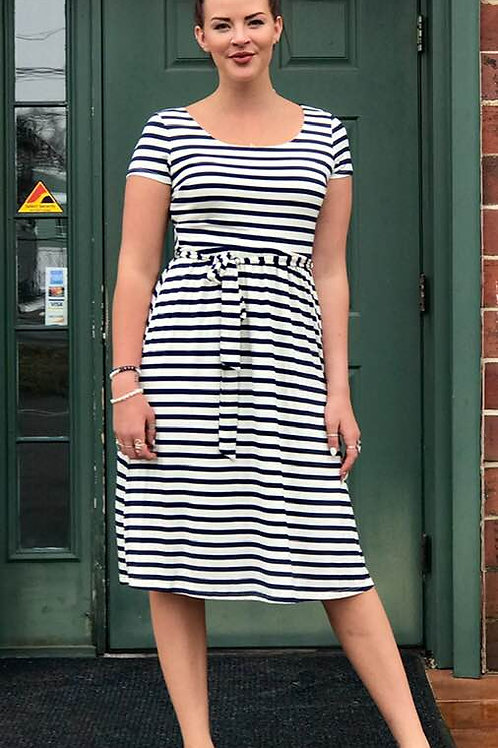 black and white belted dress
