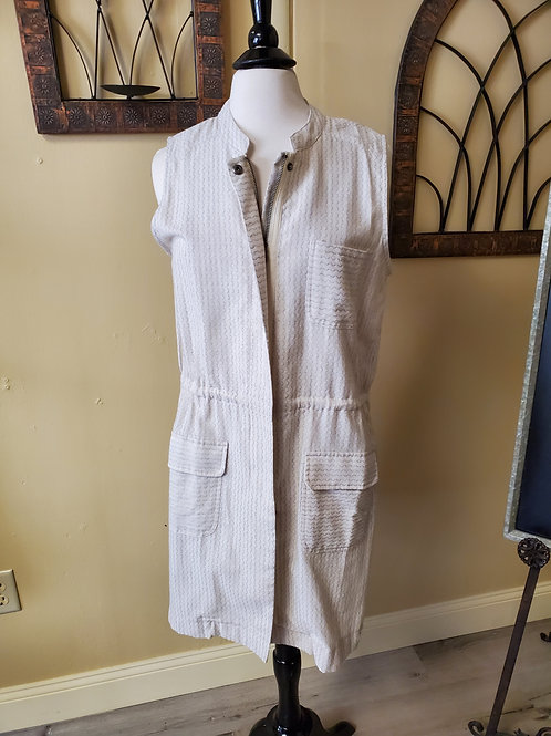tan zip up dress with pockets