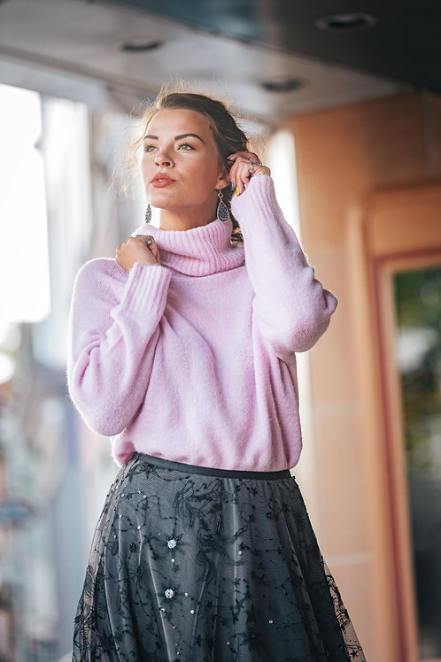Pink Fuzzy Turtle Neck Sweater