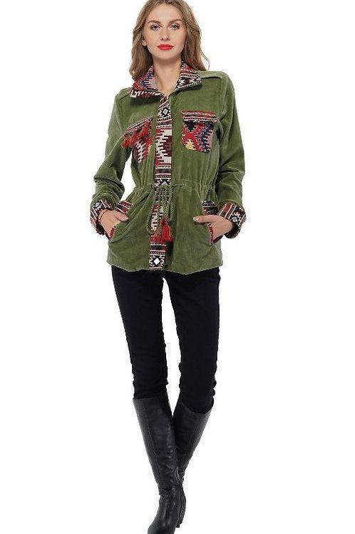 Olive Green Loden Frost Jacquard Parka Jacket