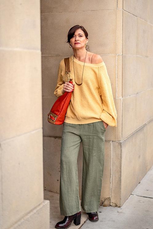 Soft Yellow Off-Shoulder Sweat Shirt Sweater