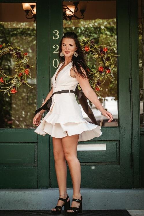 Tea Rose Tiered Princess Dress with Black Belt
