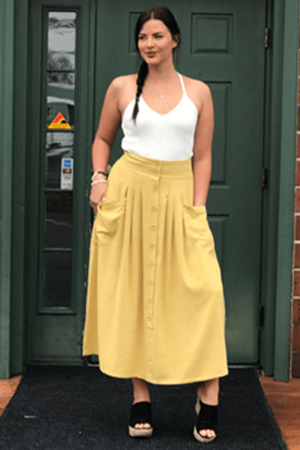 Yellow High-Waisted Button-Up Maxi Skirt