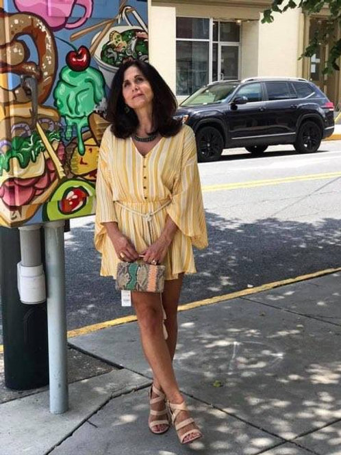 yellow stripe belted dress