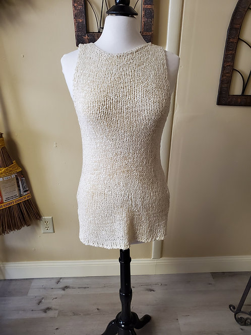 sleeveless ivory sweater