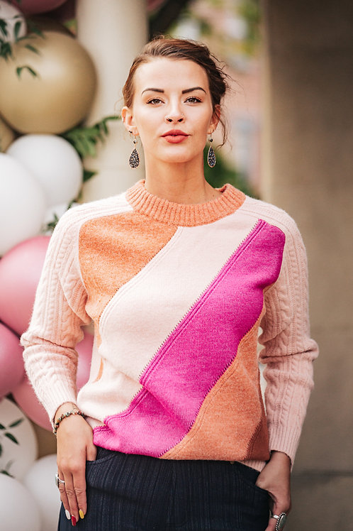 Pink and Peach Striped Sweater