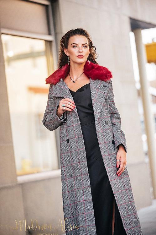Red Faux Fur Tweed Coat