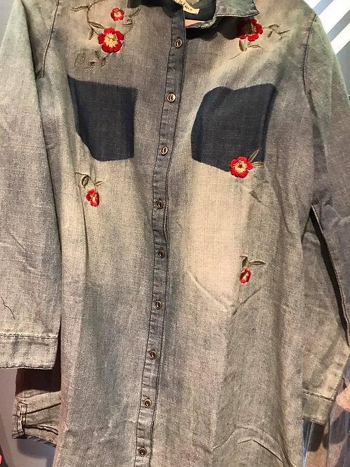 flower printed jean top
