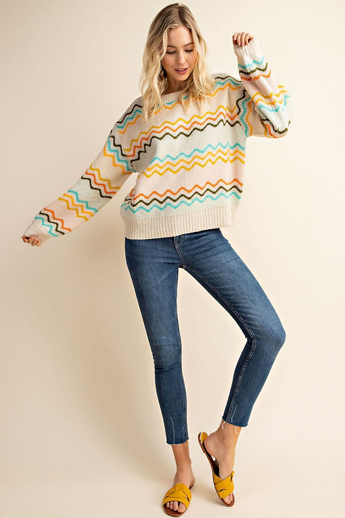 Ivory Multi Chevron Knit Sweater