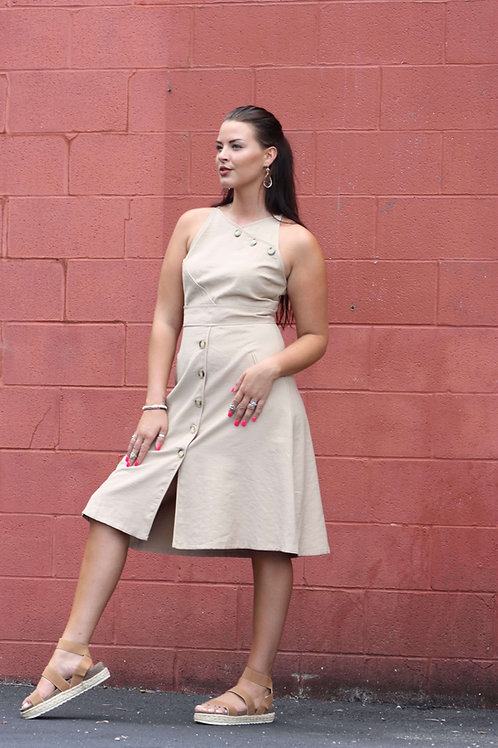 Wheat Button-Down Princess Cut Dress