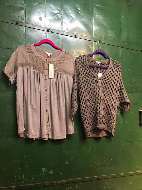 lassie grey button t-shirt