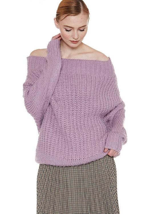 lavender off the shoulder sweater