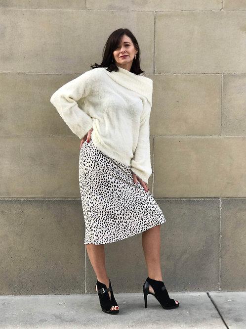 Ivory-Leopard Midi Skirt