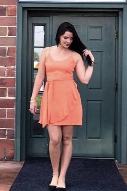 Tangerine Spaghetti Strap Ruffle Dress