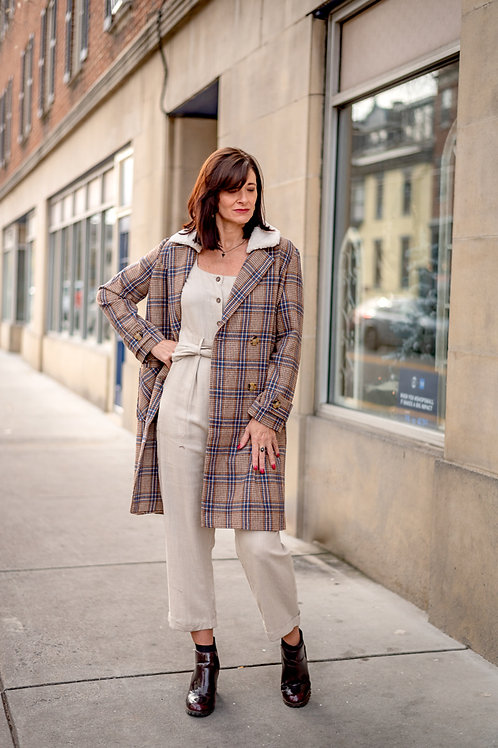 Taupe-Blue Plaid Double Breasted Sherpa Coat