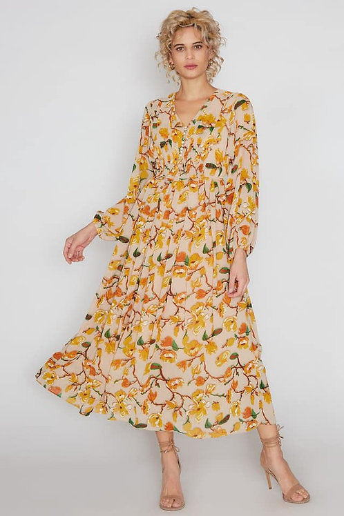 canary yellow floral dress