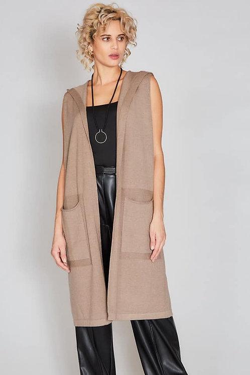 sleeveless hooded cardigan