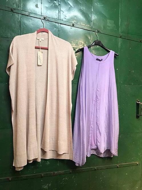 lavender split back tank blouse