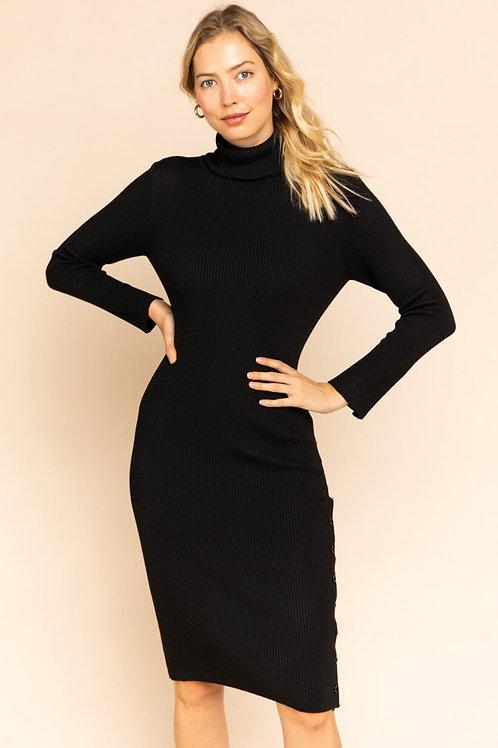 Black Long Sleeve Turtleneck Midi Dress