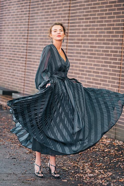 Black Pleated Evening Dress