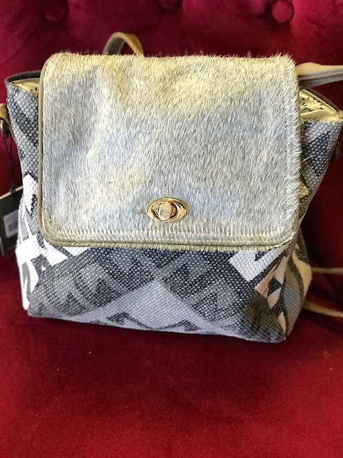 Canvas and Faux Fur Backpack