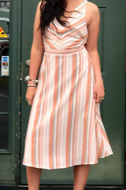 peach stripe dress