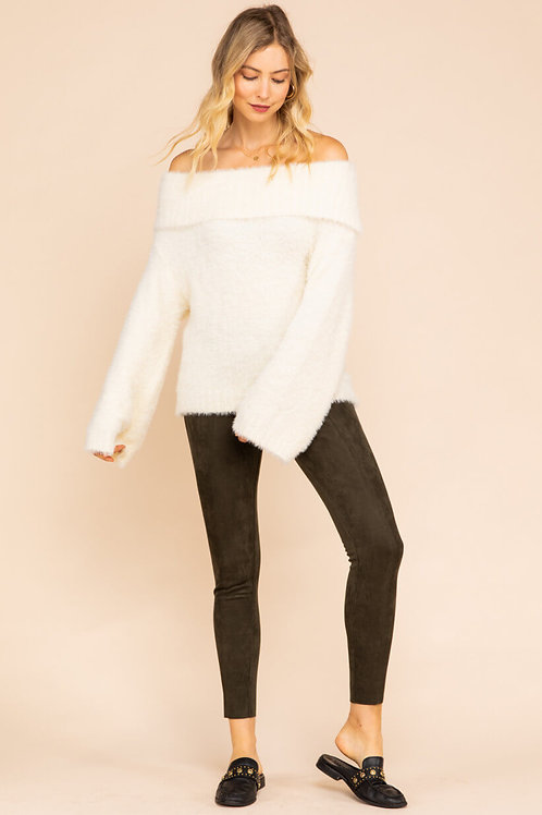 Ivory Fuzzy Soft Pull Over Sweater