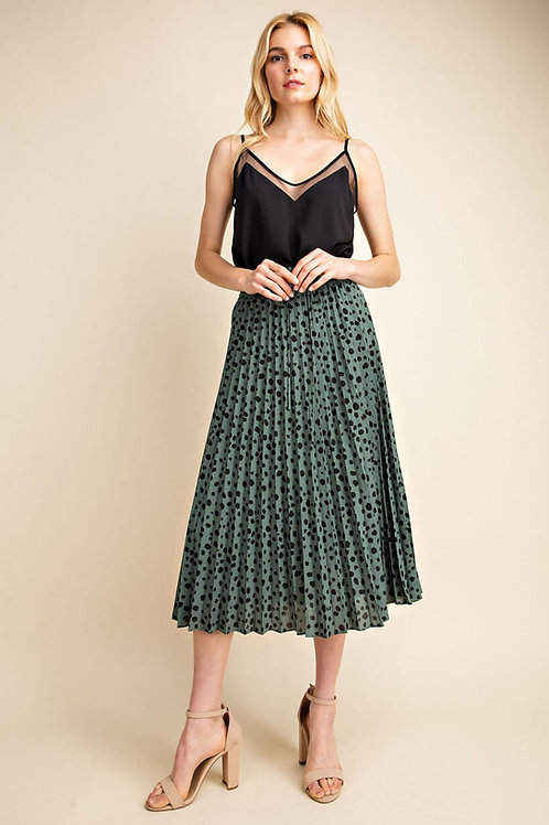 Green Leopard print maxi skirt with drawstring