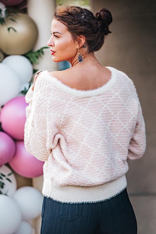 White and Pink diamond sweater