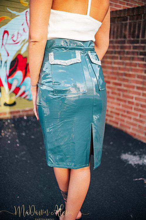 Turquoise Vegan Leather Skirt