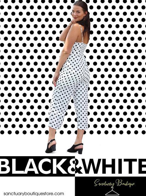 white and black polka dots