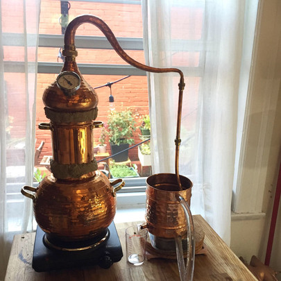 Copper alambic used to distill hydrosols and essential oils