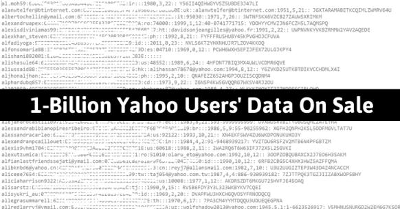 1 Billion Yahoo Users' Data on Sale