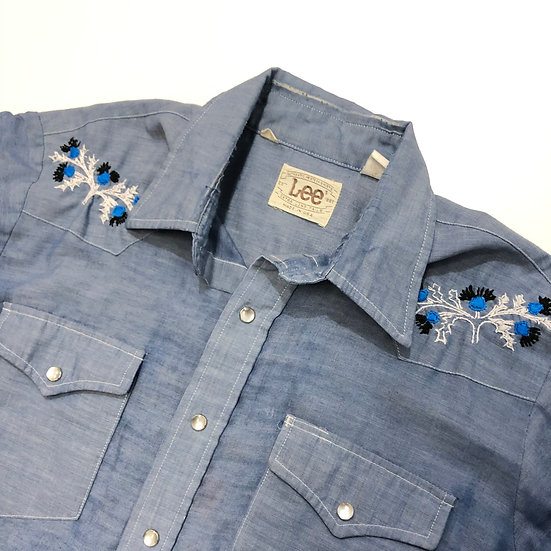 70s Lee Chambray Hand Embroidered Button Up