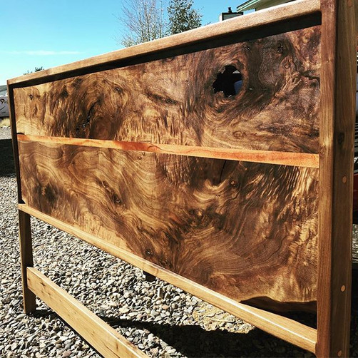 Walnut and Mahogany king size headboard.